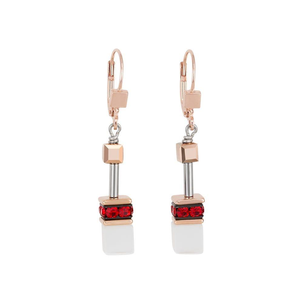 Coeur De Lion Geo Cube Rose & Gold Earrings