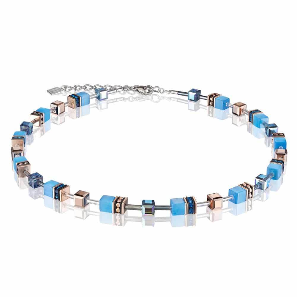 Coeur De Lion Geo Cube Blue & Rose Gold Necklace