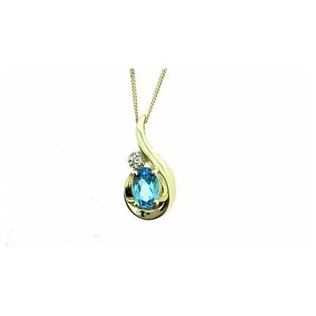 Yellow Gold Blue Topaz & Diamond Teardrop Pendant
