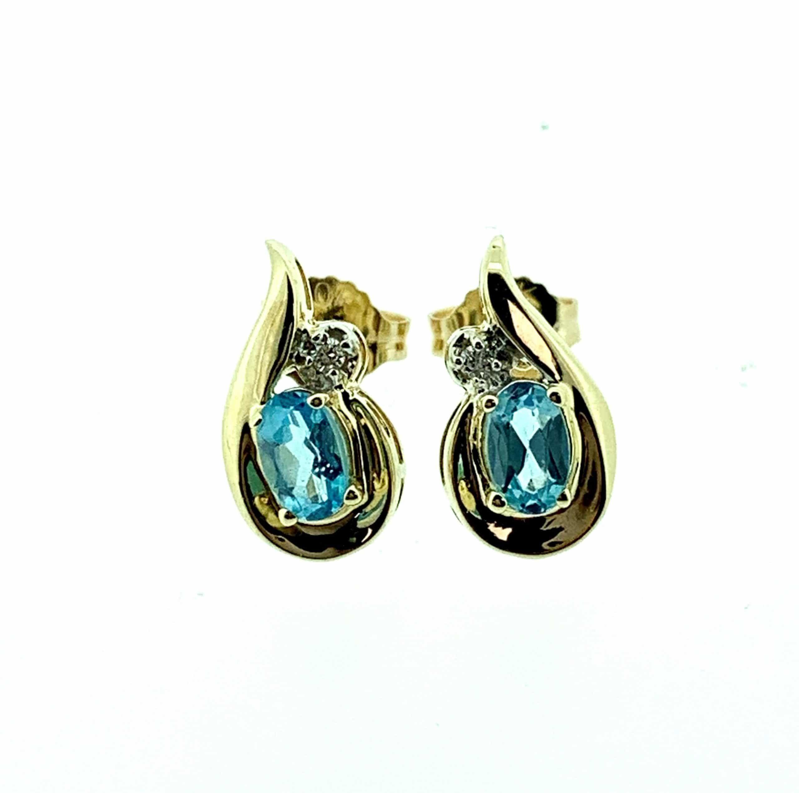 Yellow Gold Blue Topaz & Diamond Fancy Teardrop Stud Earrings