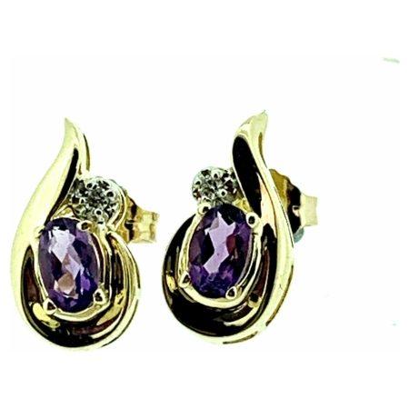 9ct Yellow Gold Amethyst & Diamond Fancy Teardrop Stud Earrings