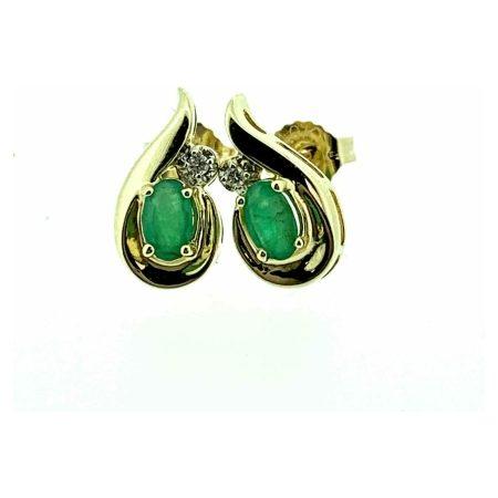 9ct Yellow Gold Emerald & Diamond Fancy Teardrop Stud Earrings
