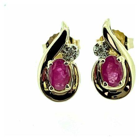9ct Yellow Gold Ruby & Diamond Fancy Teardrop Stud Earrings