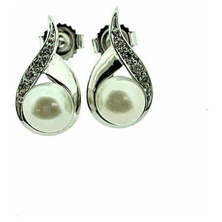 White Gold Pearl & Diamond Teardrop Stud Earrings