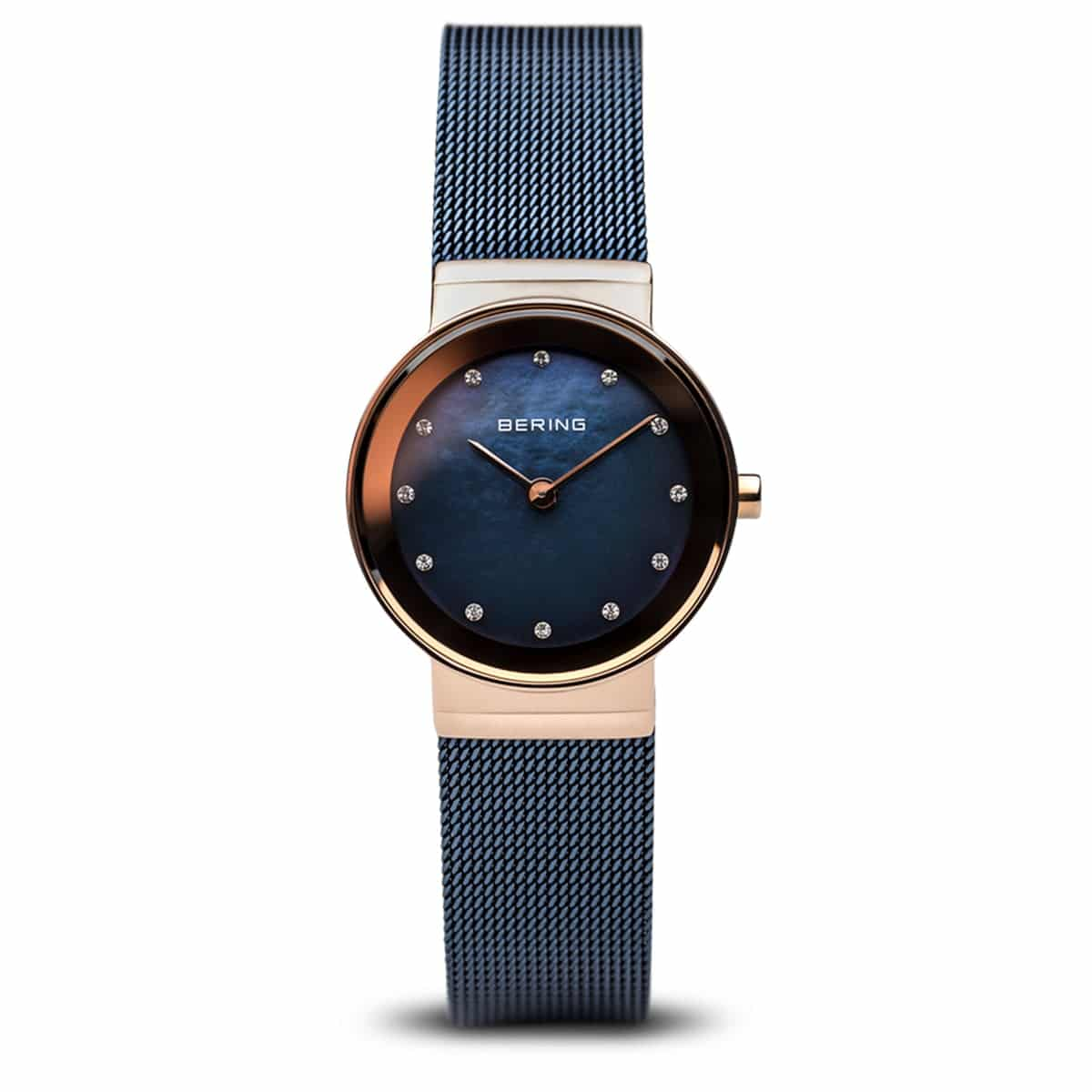 BERING LADIES CLASSIC ROSE GOLD BLUE DIAL WATCH 10126-367