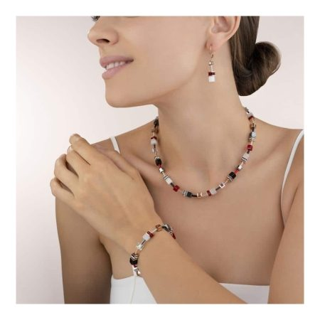 Coeur De Lion Geo Cube Red, Gold and White Necklace