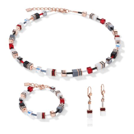 Necklace Coeur De Lion Geo Cube Red, Gold and White