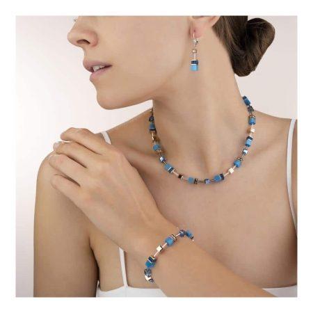 Coeur De Lion Geo Cube Blue Drop Earrings