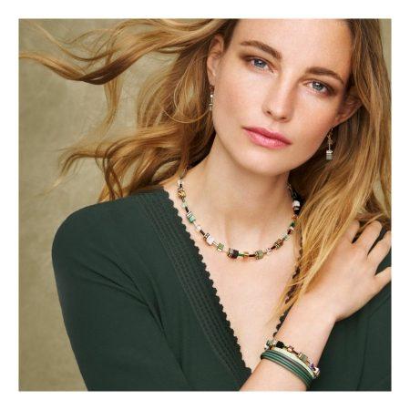 Coeur De Lion Geo Cube Green-Beige & Rose Earrings