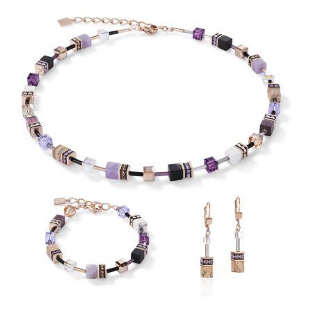 De Lion Geo Cube Lilac-Beige & Rose Earrings