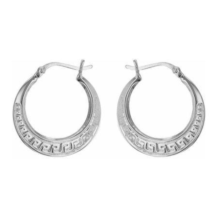 Sterling Silver Grecian-Pattern Creole Earrings