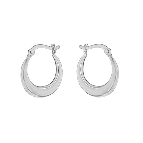 Silver Small Plain Creole Earrings 8.53.9549