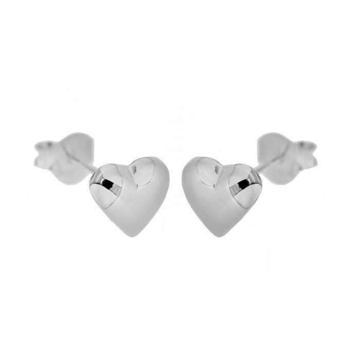 Sterling Silver Puffed Heart Stud Earrings