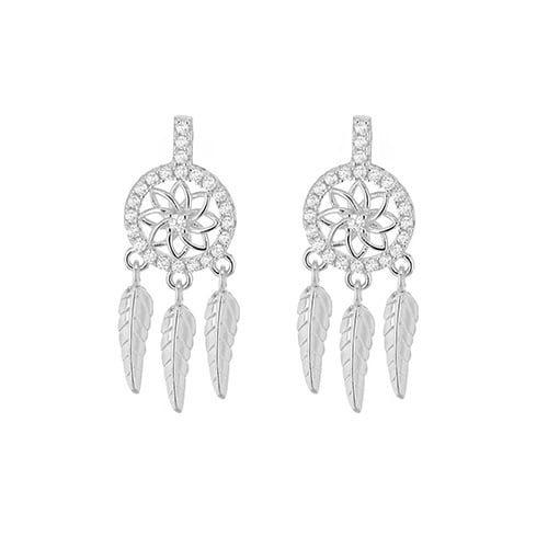 Silver Rhodium Plated CZ Dreamcatcher Earrings 8.59.1489