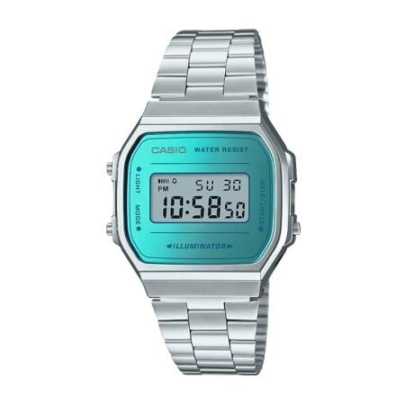CASIO MENS DIGITAL S/S TURQOUISE WATCH A168WEM-2EF