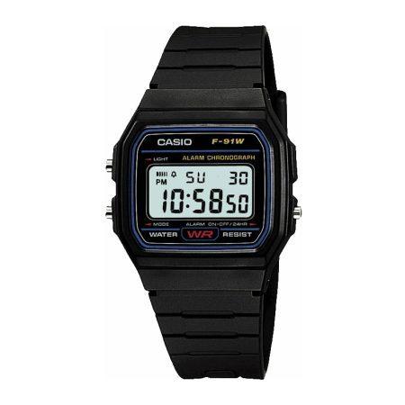 CASIO MENS Digital Watch Black Rubber Case/Strap F-91W-1XY