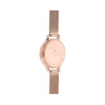 Marble Floral Rose Gold Mesh Watch by Olivia Burton