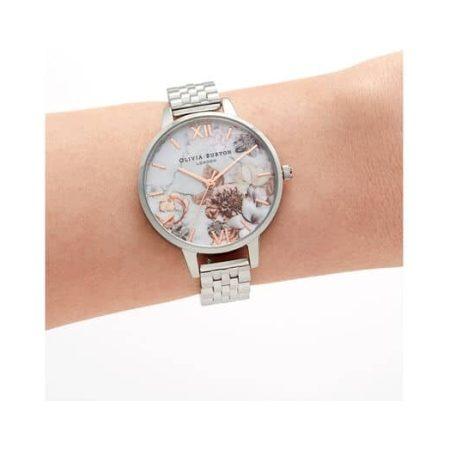 Marble Florals Demi Dial Rose Gold & Silver Bracelet