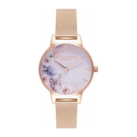 Olivia Burton Watercolour Florals Rose Gold Mesh Watch