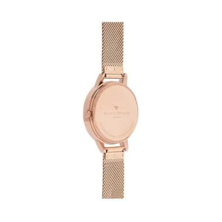 Abstract Florals Rose Gold Mesh Watch by Olivia Burton