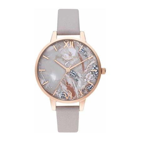 Olivia Burton Abstract Florals Grey Lilac & Rose Gold Watch