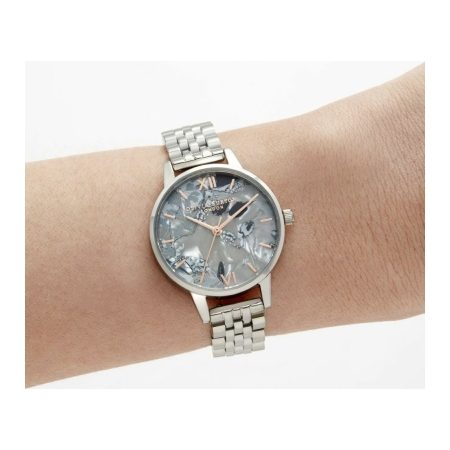 Abstract Florals Silver Bracelet Watch by Olivia Burton