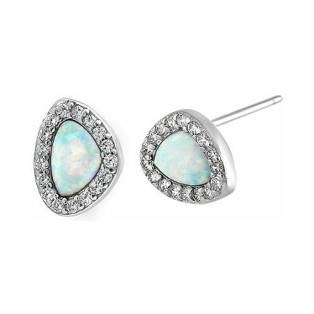Sterling Silver Small White Lab Opal & Clear Offset Stud Earrings