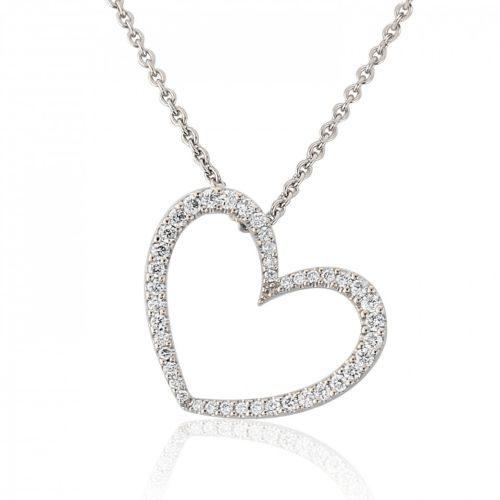 White Gold Diamond Heart Pendant Necklace
