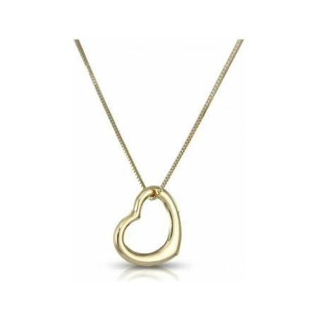 ellow Gold Heart Pendant Necklace