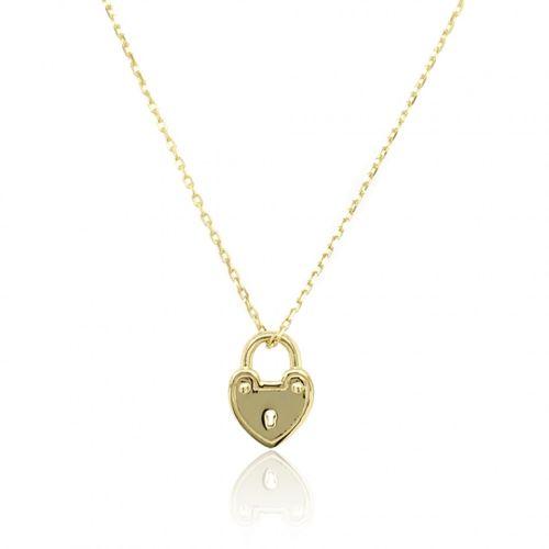 ellow Gold Padlock Heart Necklace