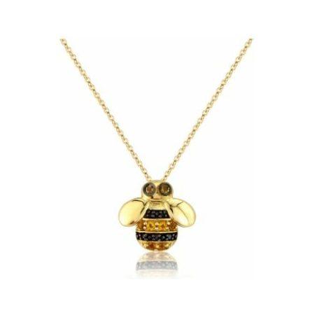 Yellow Gold Diamond & Citrine Bee Pendant Necklace