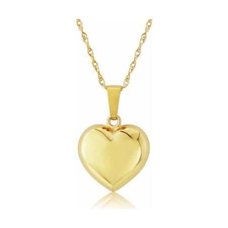 Yellow Gold Medium Puffed Heart Pendant Necklace