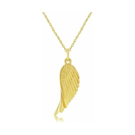 Yellow Gold Angels Wing Charm Pendant Necklace