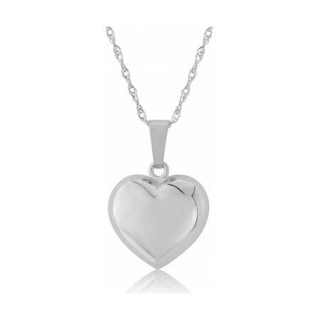 White Gold Medium Puffed Heart Pendant Necklace
