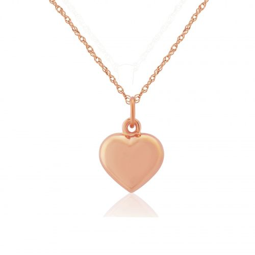 Rose Gold Small Puffed Heart Pendant Necklace
