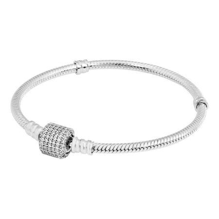 PANDORA Moments Sparkling Pave Clasp Snake Chain Bracelet