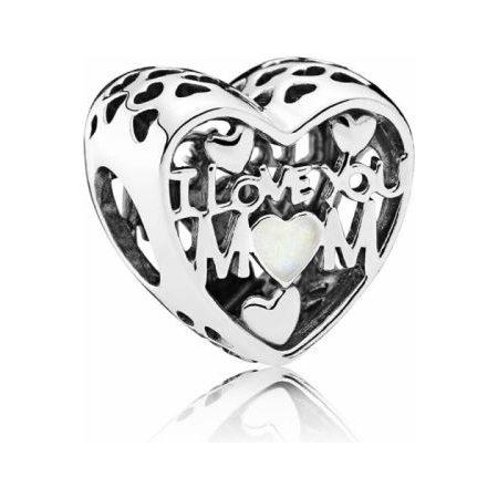 PANDORA I Love You Mom Heart Charm