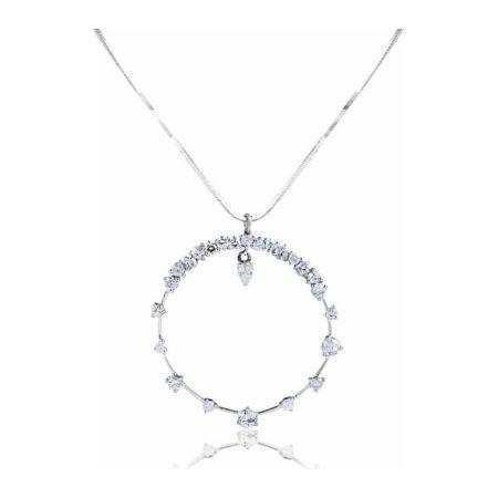 White Gold Diamond Set Large Open Circle Pendant