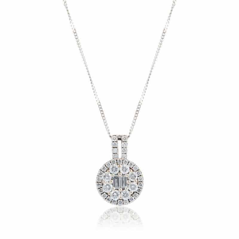Gold Diamond Round Cluster Pendant