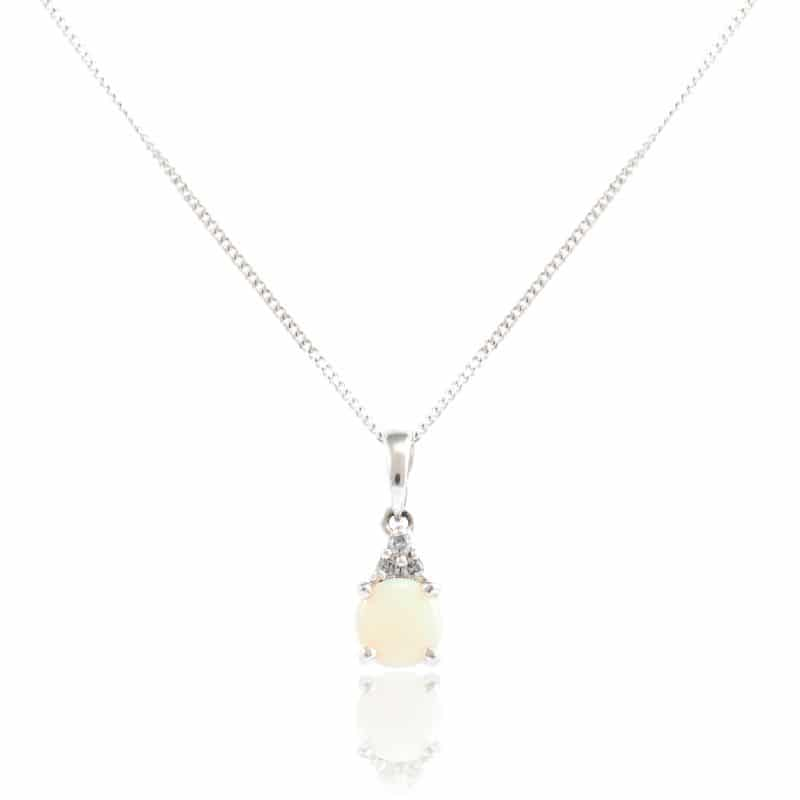 White Gold Round Cut Opal Pendant