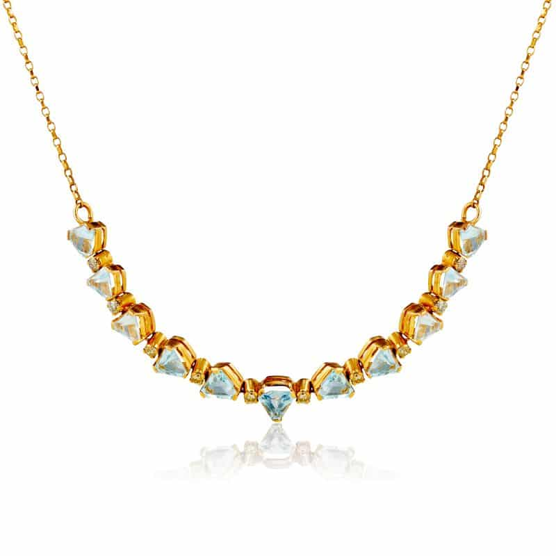 Trilliant Cut Blue Topaz with Round Cut Diamond Necklace