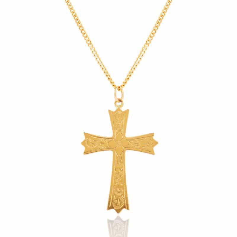 Yellow Gold Engraved Cross Pendant