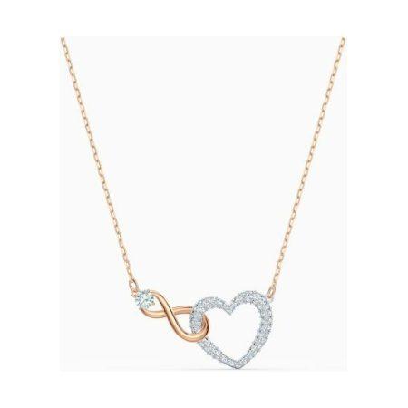 Swarovski Infinity Heart Rose Necklace