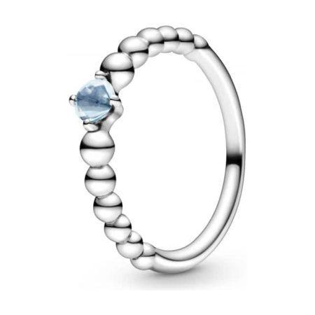 PANDORA March Birthstone Beaded Ring