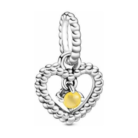 March Birthstone Heart Dangle Charm