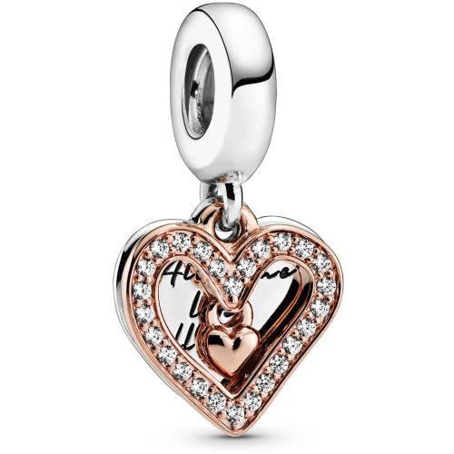 PANDORA Sparkling Freehand Heart Dangle Charm