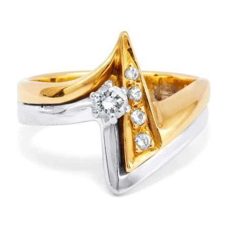 Yellow & White Gold 'Lightning Bolt' Diamond Set Ring