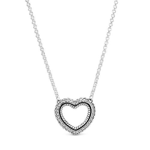 Pandora Pave Snake Chain Pattern Open Heart Collier Necklace