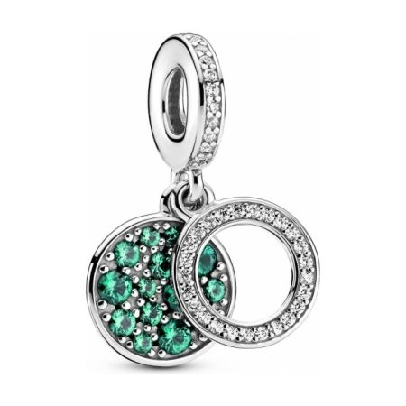 PANDORA Sparkling Green Disc Double Dangle Charm