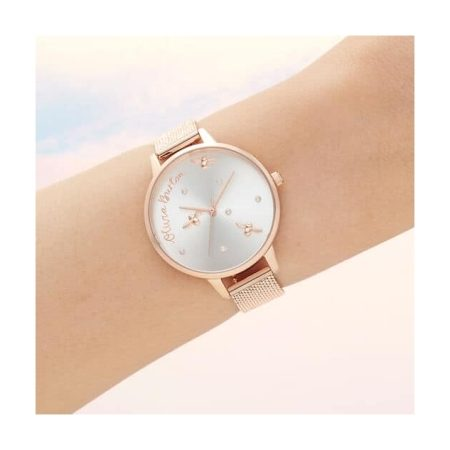 Olivia Burton Pearly Queen Pearl Detail Rose Gold Mesh Watch